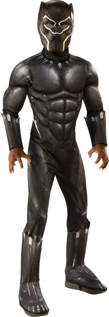 Child Boy's Deluxe Muscle Black Panther Costume - Large
