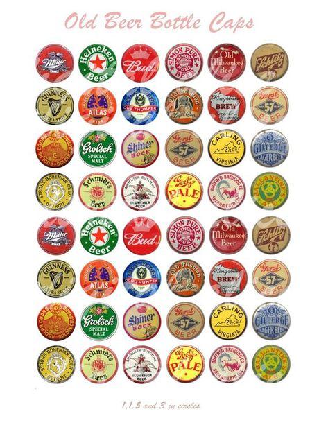 Vintage BEER BOTTLE CAPS Craft Circles - Printable Old Beer Ale  Bottle Caps- Instant Download Digit