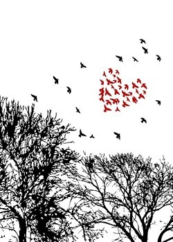 An unkindness of ravens tattoo idea - I would want all black though and make the heart not as easy to notice.