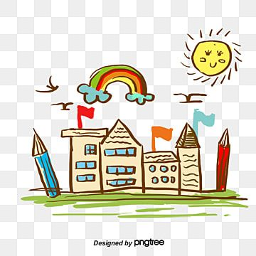 Cartoon School Building School Building Sun Png Transparent Clipart Image And Psd File For Free Download Doodle Drawings Cartoon Icons School Building