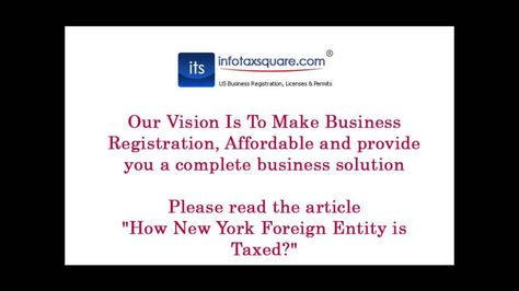 How New York Foreign Entity Is Taxed Make Business General