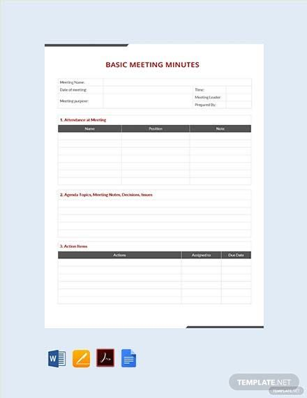 Simple Basic Meeting Minutes Template Free Pdf Google Docs Word Apple Pages Pdf Template Net Meeting Notes Template Meeting Agenda Template Templates Printable Free