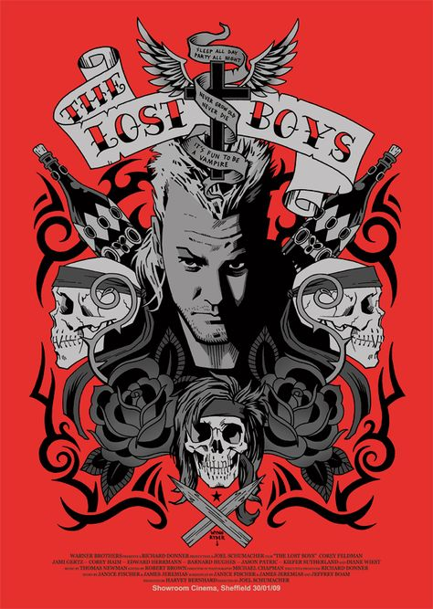 Tattoo style film poster for The Lost Boys by myporcelaintears