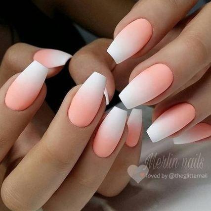 63 Trendy Nails Acrylic Coffin Matte Peach Ombre Acrylic Nails Ombre Nail Art Designs Nail Art Ombre