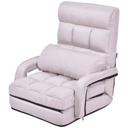 Marvelous Gymax Beige Folding Lazy Sofa Floor Chair Sofa Lounger Bed Machost Co Dining Chair Design Ideas Machostcouk