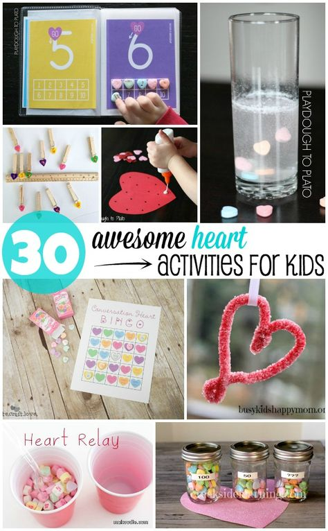 30 Awesome Heart Activities for Kids. Math games, fine motor activities, science experiments and just for fun stuff.