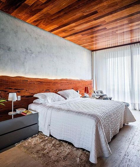 """Ideias Diferentes on Instagram: """"Combinação perfeita da madeira com o concreto 💛 Via: @decorechic #ideiasdiferentes Projeto: Zezinho e Turibio Santos Arquitetura 📐…"""""""
