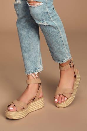 Corsa Black Espadrille Flatform Sandals