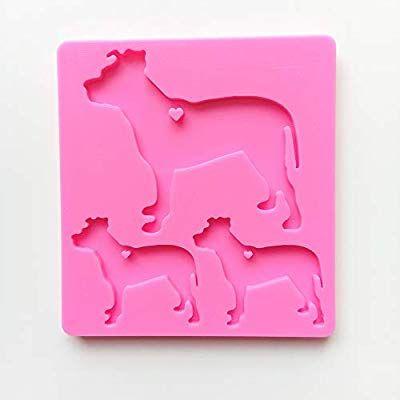 Dog Family Shiny Silicone Mould DIY Epoxy Resin Crafting Keychains Craft Mold
