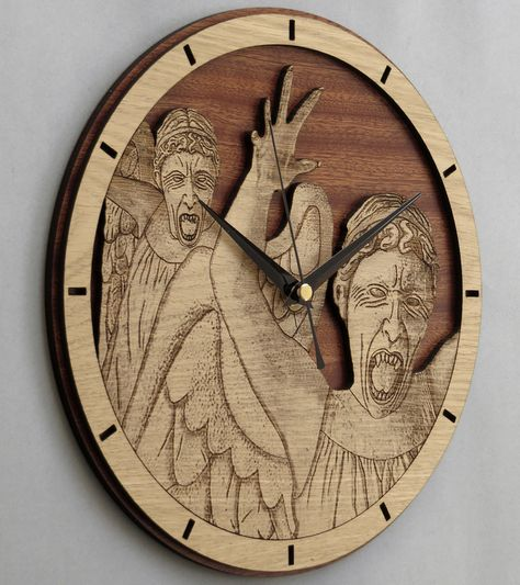 Handmade #WeepingAngels wooden clock - Doctor Who wallclock. Original and unique gift for friends. Worldwide Shipping. Available in:  www.geeksmarvels.etsy.com .  #Fashion #FathersDay #geekdecor #homeforwhovians