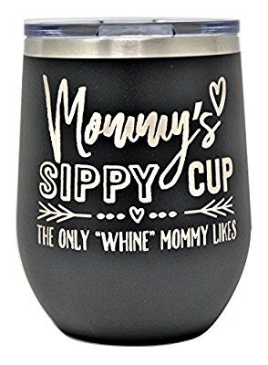 Valentines Day Gift for Mom White Birthday Mommys Sippy Cup Wine Tumbler Christmas 12 oz Stainless Steel Stemless Wine Glass Tumbler with Lid and Straw Fancyfams Mothers Day