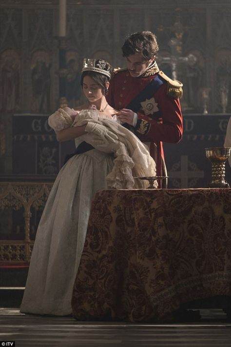 Coming soon: Victoria season two will see monarch's maternal side and her 'fits of rage and passion'. as Jenna Coleman has teased explosive love scenes with her on-screen prince (and real-life boyfriend) Tom Hughes Queen Victoria Family, Queen Victoria Prince Albert, Victoria And Albert, Victoria Itv, Victoria Series, Victoria 2016, Tom Hughes, Estilo Real, Princess Aesthetic