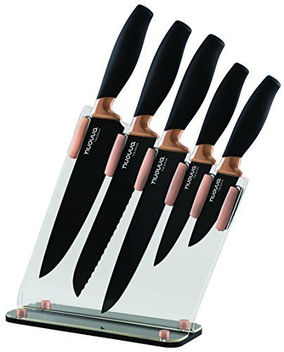 Kitchen Knife Block Set Copper 5 Piece Set With Knives Clear