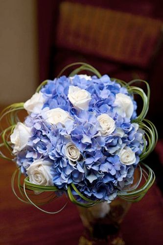 Blue Hydrangea and roses wedding flower bouquet, bridal bouquet, wedding flowers, add pic source on comment and we will update it. www.myfloweraffair.com can create this beautiful wedding flower look.