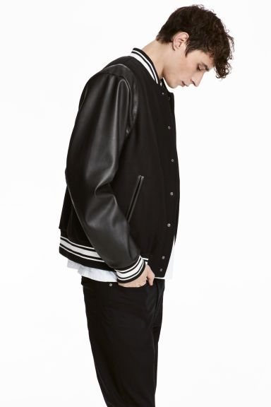 Padded Baseball Jacket Black White Men H M Gb Baseball Jacket Black And White Man H M Men
