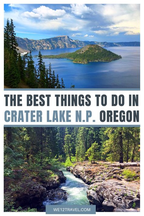 Heading to Crater Lake National Park this summer? Then make sure to check out my online travel guide with the best things to do in Crater Lake National Park in Oregon! Crater Lake Hikes, Crater Lake Camping, Crater Lake Lodge, Crater Lake Oregon, Crater Lake National Park, National Parks Map, National Park Posters, Parc National, Oregon Road Trip