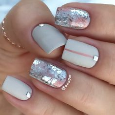 A Win-Win Combination Taupe Color And Silver Foil | Taupe Color Nails: 18 Design Ideas Using Gorgeous Shade; #NailArt #TaupeNails #TaupeColor #NailDesigns #shortnails #mattenails #foilednails