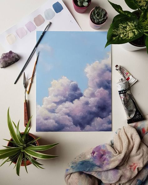 Instagram 上的 Natalie Muir:「 So I'm challenging myself to a mini project. Inspired by @jodiemuirart 's 30 day master study. I want to paint a cloudscape every day for a… 」