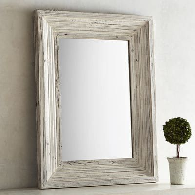 Bailey Farmhouse Natural Whitewash 30x40 Mirror Wood Framed Mirror Rustic Farmhouse Living Room Farmhouse Mirrors
