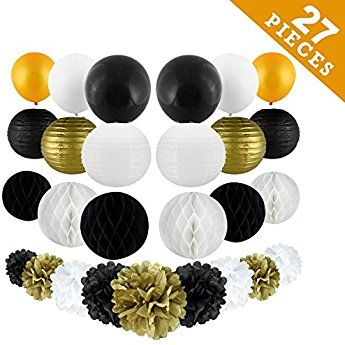 New Years Decorations Gold Black White Party Decor Kit Tissue
