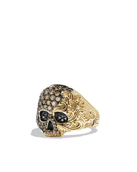 David Yurman   Waves Small Skull Ring With Cognac And Black Diamonds In Gold for Men   Lyst