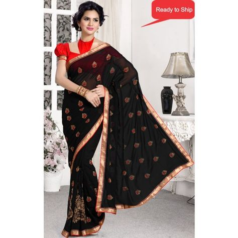 82fd68e8d2cc26 Beautiful black butta embroidered faux georgette saree with blouse ...