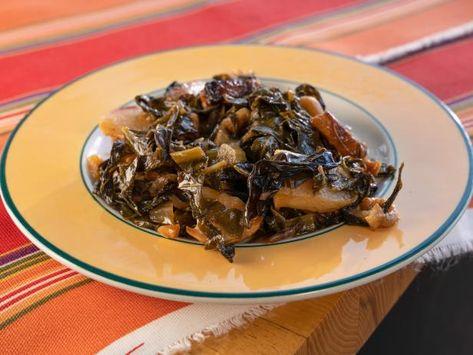 Collard Greens Roasted with Garlic, Peanuts, Turnips and Sweet Potatoes