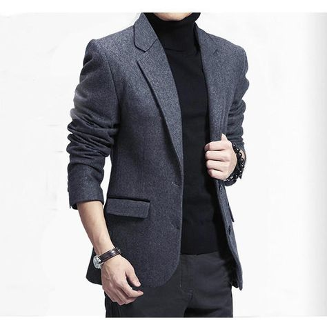1eb467b0c6e Autumn Winter Business Casual Slim Fitted Warm Suits Mens Fashion Wool Suit  Coat at Banggood