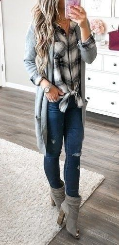 Top fall outfits women ideas gray and black flannel shirt gray knit sweater blue distressed denim gray suede booties simple casual women's ootd inspo