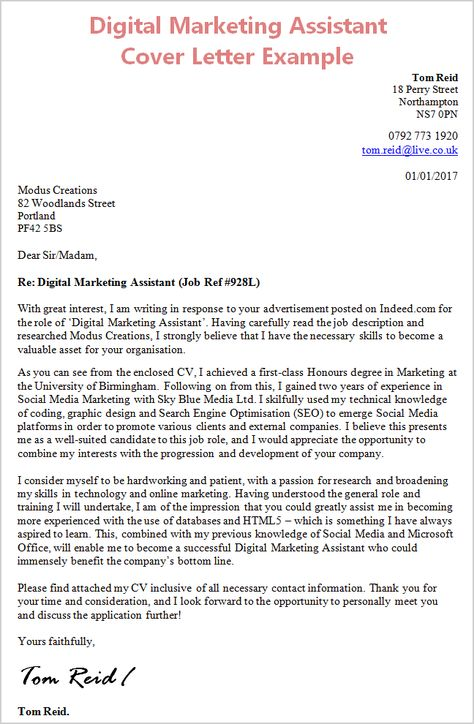 Cover Letter Template Digital Marketing | Lettre de ...