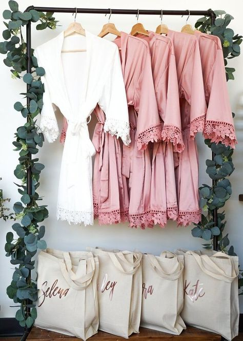 You'll love our bridal party robes! These personalized bridesmaid robes make the best bridesmaid gift. Bridal party robes satin will look so pretty in your bridal party robes pictures! These satin bridesmaid robes have a pretty lace detail that will be perfect for bridesmaid robe pictures. We have flower girl robes, bridal robes & bridesmaid robes in 9 on-trend wedding colors. Looking for floral bridal party robes? Check our site - we have those too & other affordable bridal party robes.