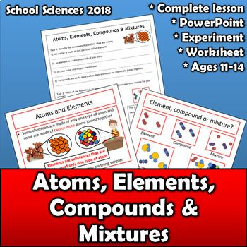 Atoms, elements, compounds & mixtures - worksheet, PPT & lab ...