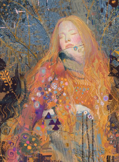 xuanwei su ethereal illustrations reminiscent of klimt Gustav Klimt, Art Klimt, Art Inspo, Painting Inspiration, Art Et Illustration, Illustrations, Wow Art, Pretty Art, Aesthetic Art