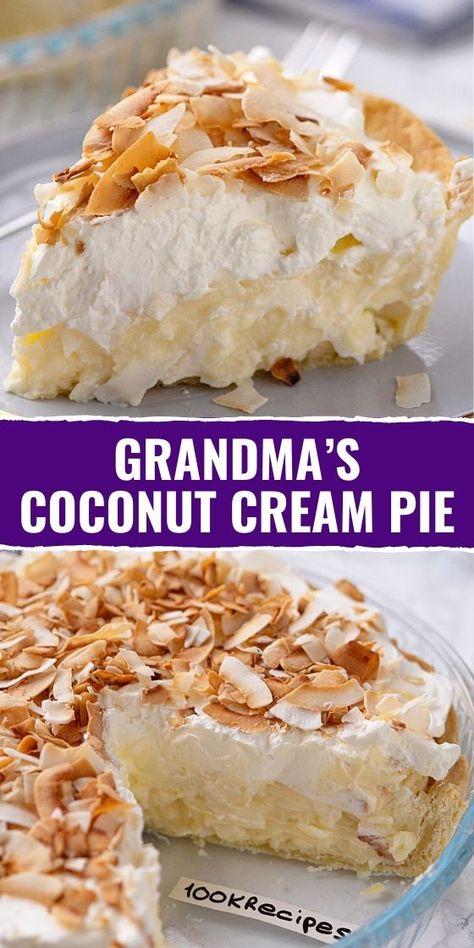 Coconut Custard Cake Recipe, Coconut Recipes, Coconut Meringue Pie, Coconut Tart, Coconut Desserts, Cookie Desserts, Cream Pie Recipes, Fudge Recipes, Baking Recipes