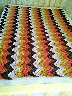 Vintage Chevron Ripple Zig Zag Crochet Afghan Throw Blanket 64x50