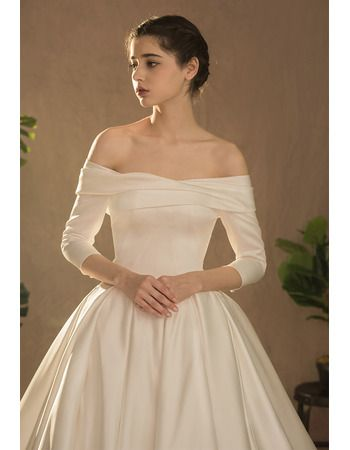 Junoesque Simple Ruched Off The Shoulder Satin Wedding Dresses With 3 4 Long Sleeves Us 168 99 Buybuystyle Com Wedding Dresses Aqua Bridesmaid Dresses Wedding Dresses Satin
