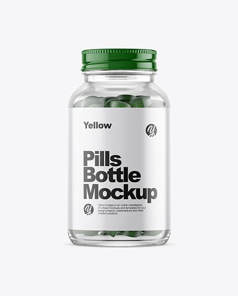 Clear Glass Bottle With Pills Mockup In Bottle Mockups On Yellow Images Object Mockups Design Mockup Free Mockup Mockup Free Psd