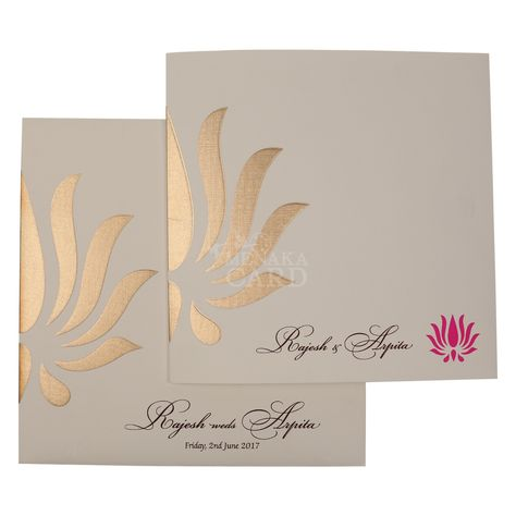 Simple and an elegant card that can be used for all occasions like engagement , wedding, seemandham, reception . It's a half white card that comes with a gold embossed flower petal pattern which makes the card look elegant. Card has contrast magenta color inserts with same gold petal design printed.Card and envelope has same embossed petal design. These designs cam be changed and customized as per your interest.