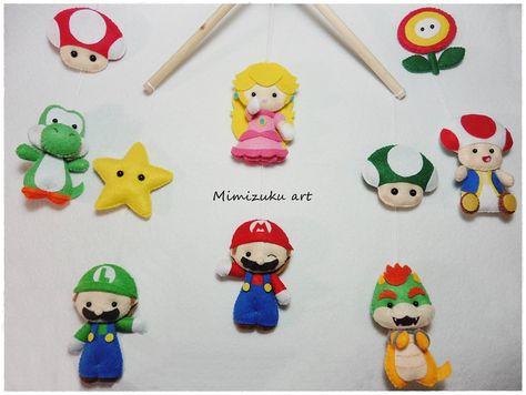 Mario bros felt mobile Mario bros baby mobile baby crib   Etsy