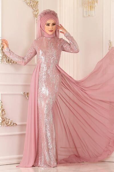 Modaselvim Abiye Pelerinli Pul Payet Abiye Alm52740 Pudra Muslim Prom Dress Dresses Prom Dresses