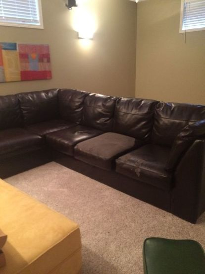 From Throwaway Couch To Comfy New One Faux Leather Sectional Faux Leather Couch Leather Couch Sectional
