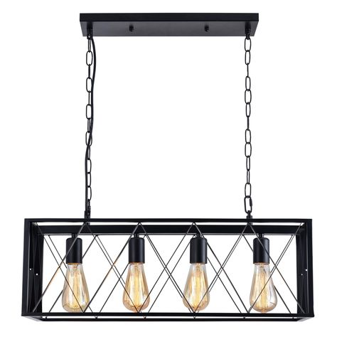 BONLICHT 5 Light Large Farmhouse Chandelier Rustic Dining Room Lighting Fixtures Hanging,Black Foyer Square Cage Pendant Lighting Vintage Industrial