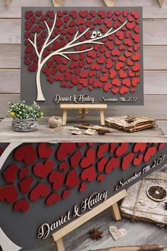 3D Wedding guest book alternative tree wood Custom unique guestbook hearts Burgundy Autumn wedding Rustic guestbook wooden Tree of life Gift