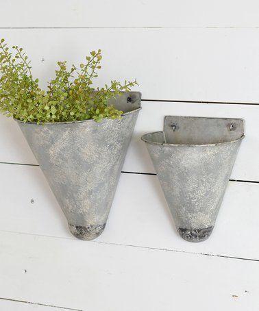 Cone Tin Wall Planter Set Of Two Tin Walls Tin Wall Decor Rustic Tin