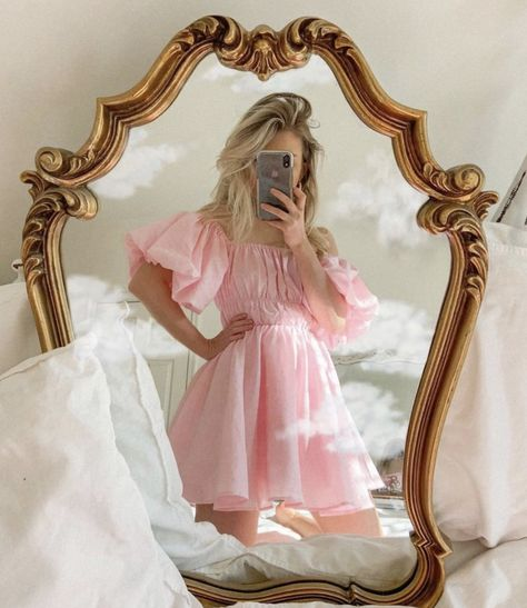 Pink off-the-shoulder summer mini dress with a shirred bodice, puff sleeves and an A-line silhouette. Little Princess, Pink Princess Dress, Princess Clothes, Disney Princess, Princess Zelda, Princess Aesthetic, Pink Aesthetic, Aesthetic Clothes, Angel Aesthetic