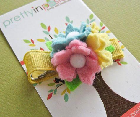 Mini Tri Cluster Felt Flower Hair Clip Pretty by PrettyinPosies, $7.00