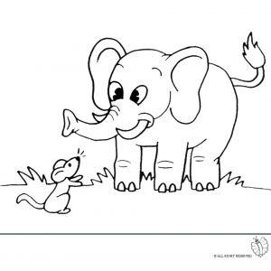 Disegno Di Elefante E Topolino Da Colorare Per Bambini Disegni