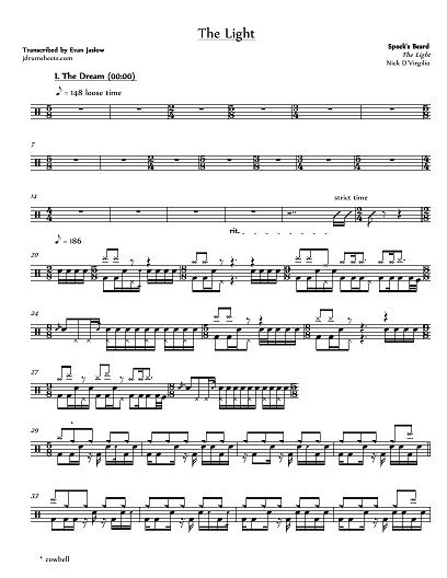 Drum Tab Sheet Music Transcription For The Light By Spock S