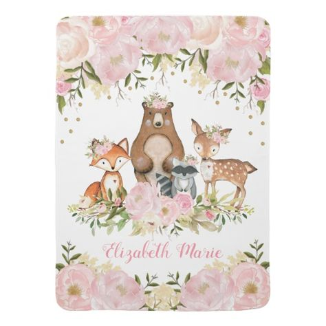 Pretty Woodland Forest Blush Peonies Fox Deer Bear Baby Blanket | Zazzle.com