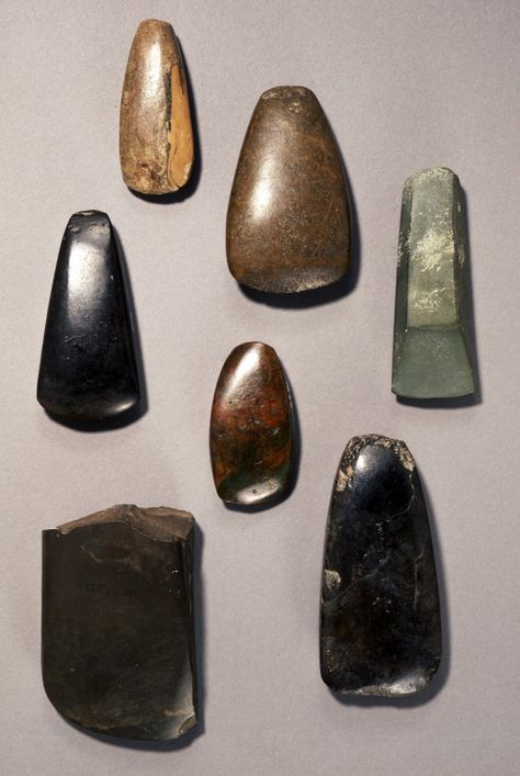 Carved & Polished Stone Hand-axes  --  Jomon (Neo) Period  --  Circa 12,000-300 BCE  --  Discovered in Iwami, Japan  Findspot: Iwami, Japan  --  Photo courtesy of The British Musuem